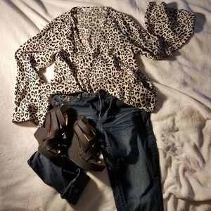 Leopard print flare sleeve top